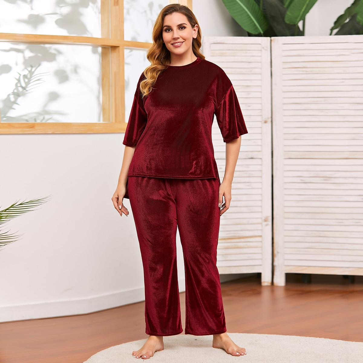 Разрез одноцветный повседневный пижама размер плюс