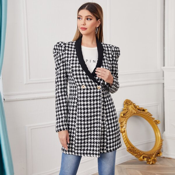Shawl Collar Puff Sleeve Double Button Houndstooth Tweed Blazer, Black and white