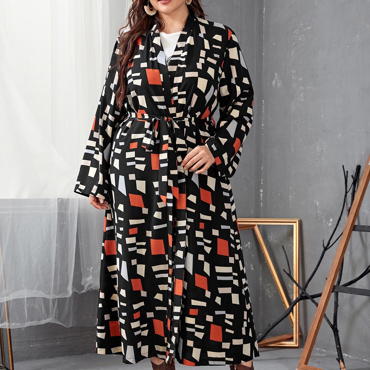 С поясом принт повседневный кимоно размер плюс