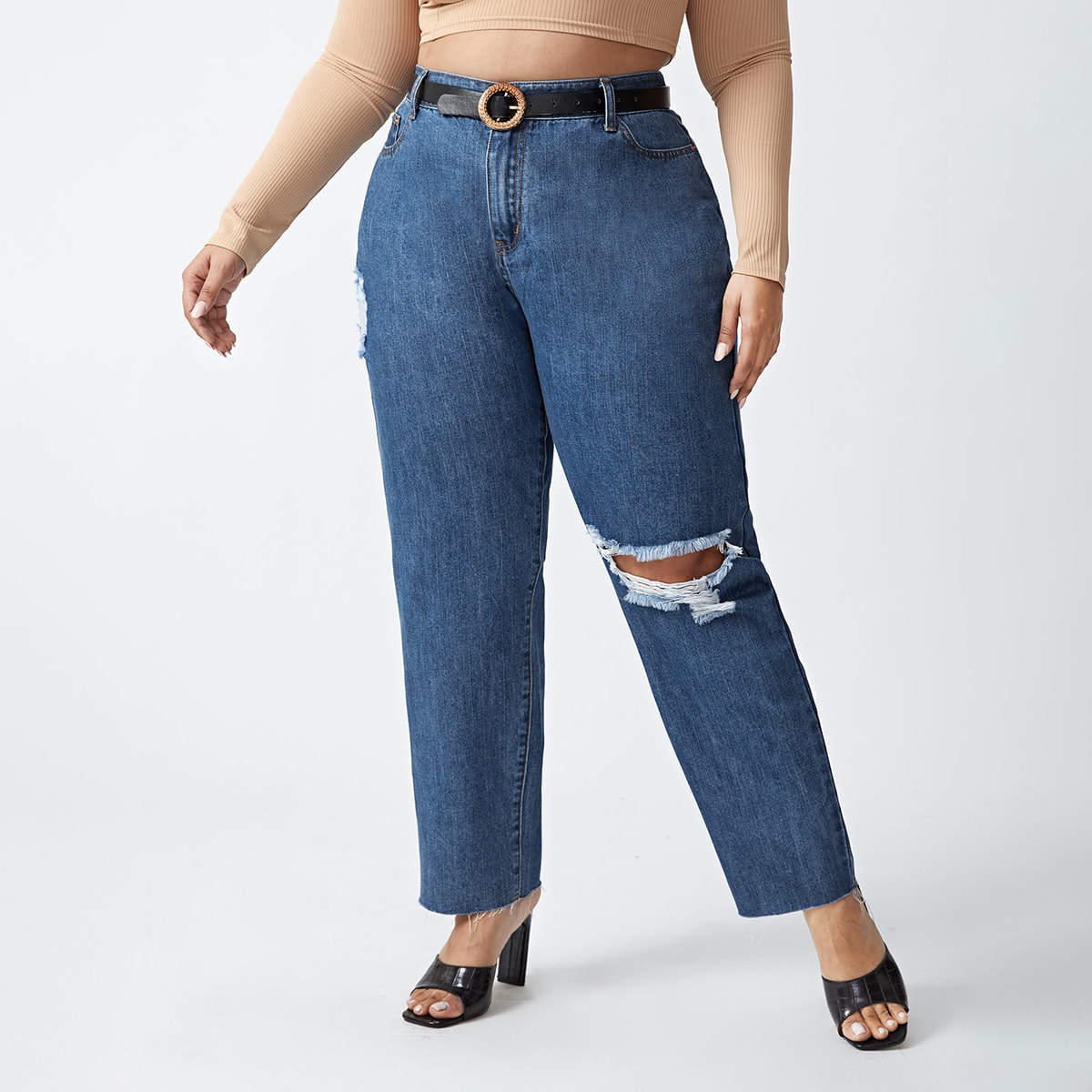 На пуговицах одноцветный повседневный джинсы размер плюс