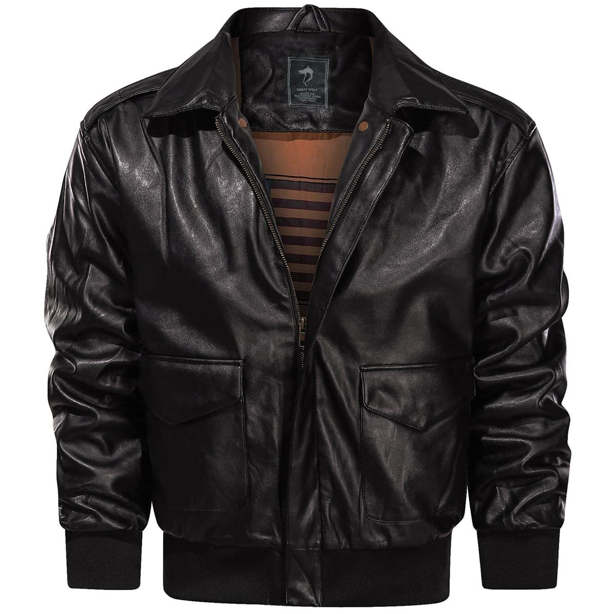 Мужская куртка из искусственной кожи с карманом