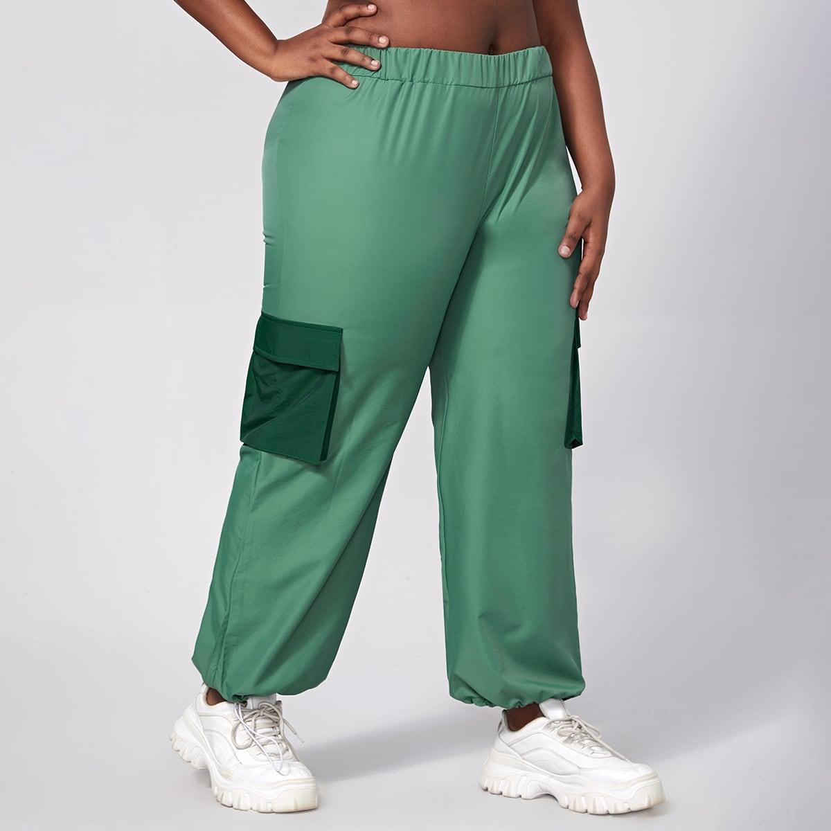 Спортивные брюки большого размера с клапаном и кулиской