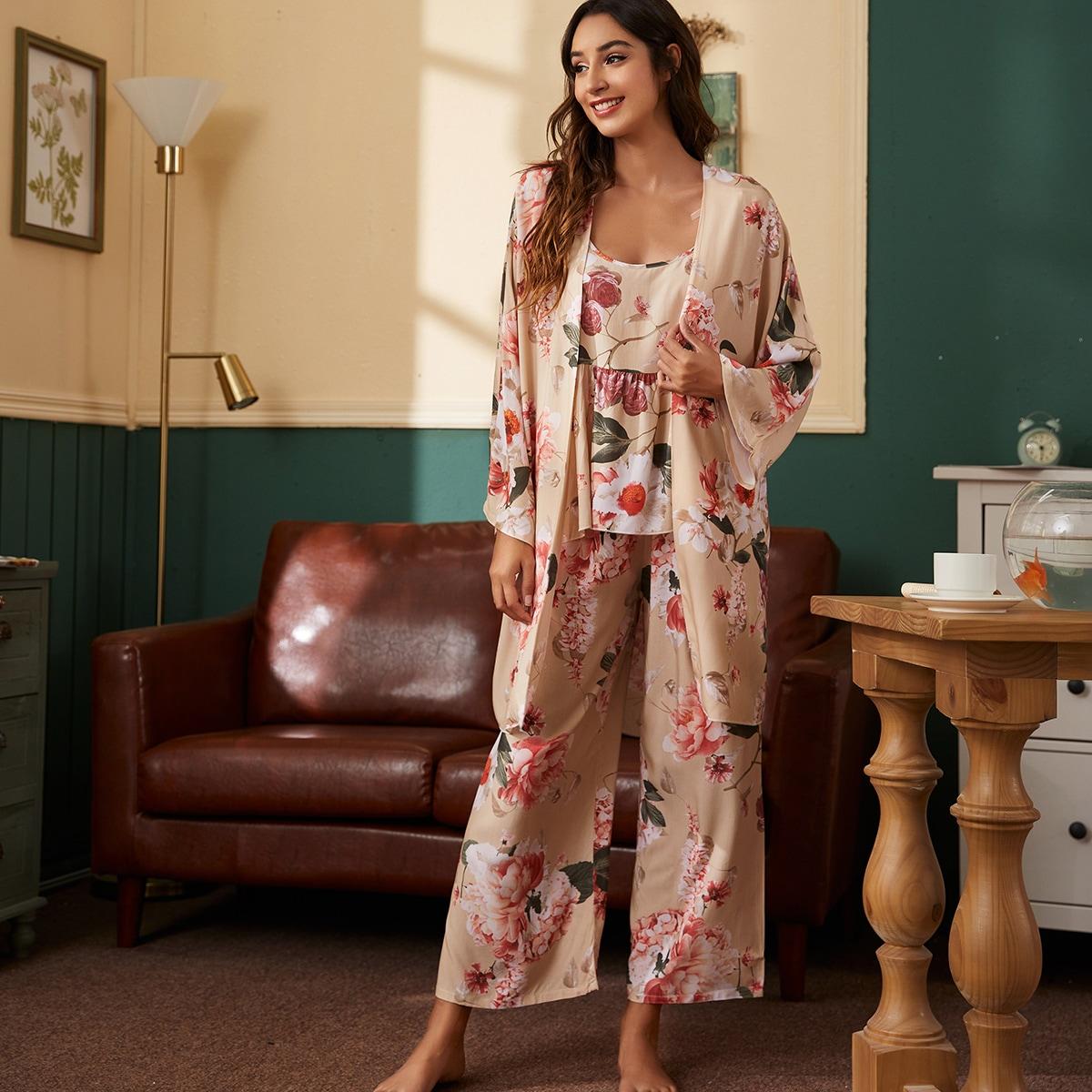 Цветочный принт Повседневный Пижама