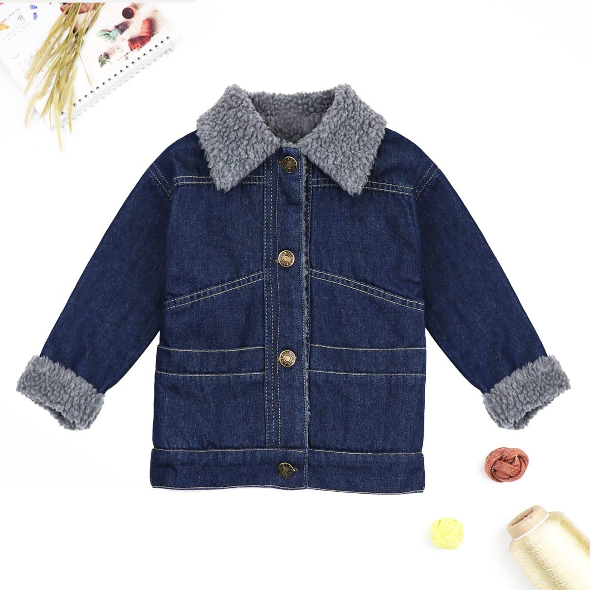 Джинсовая куртка с плюшевым воротником для мальчиков