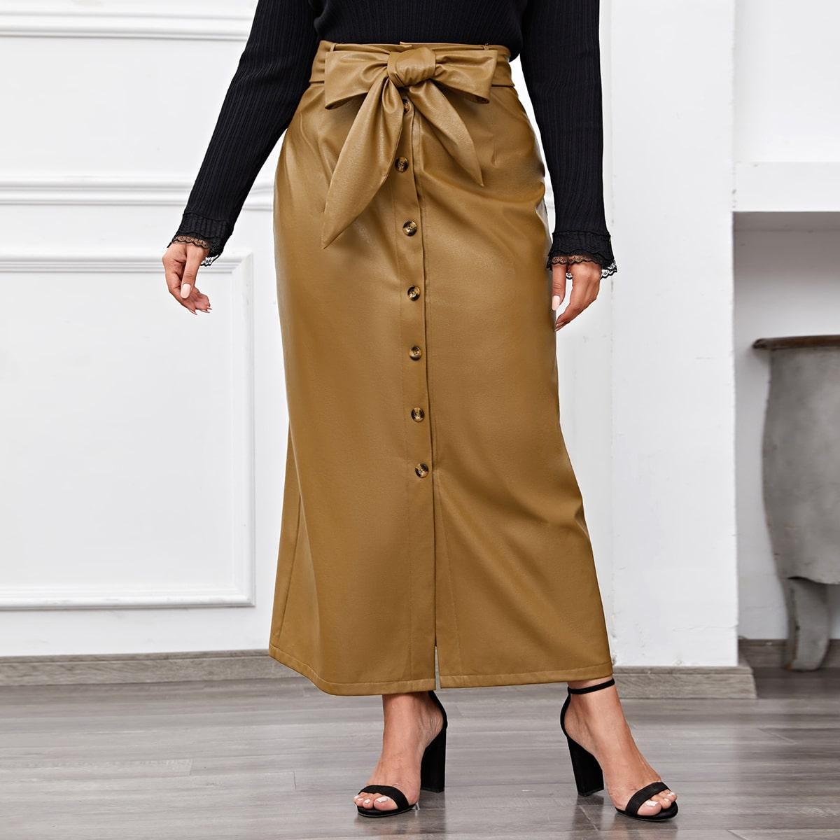 С поясом одноцветный элегантный юбки размер плюс