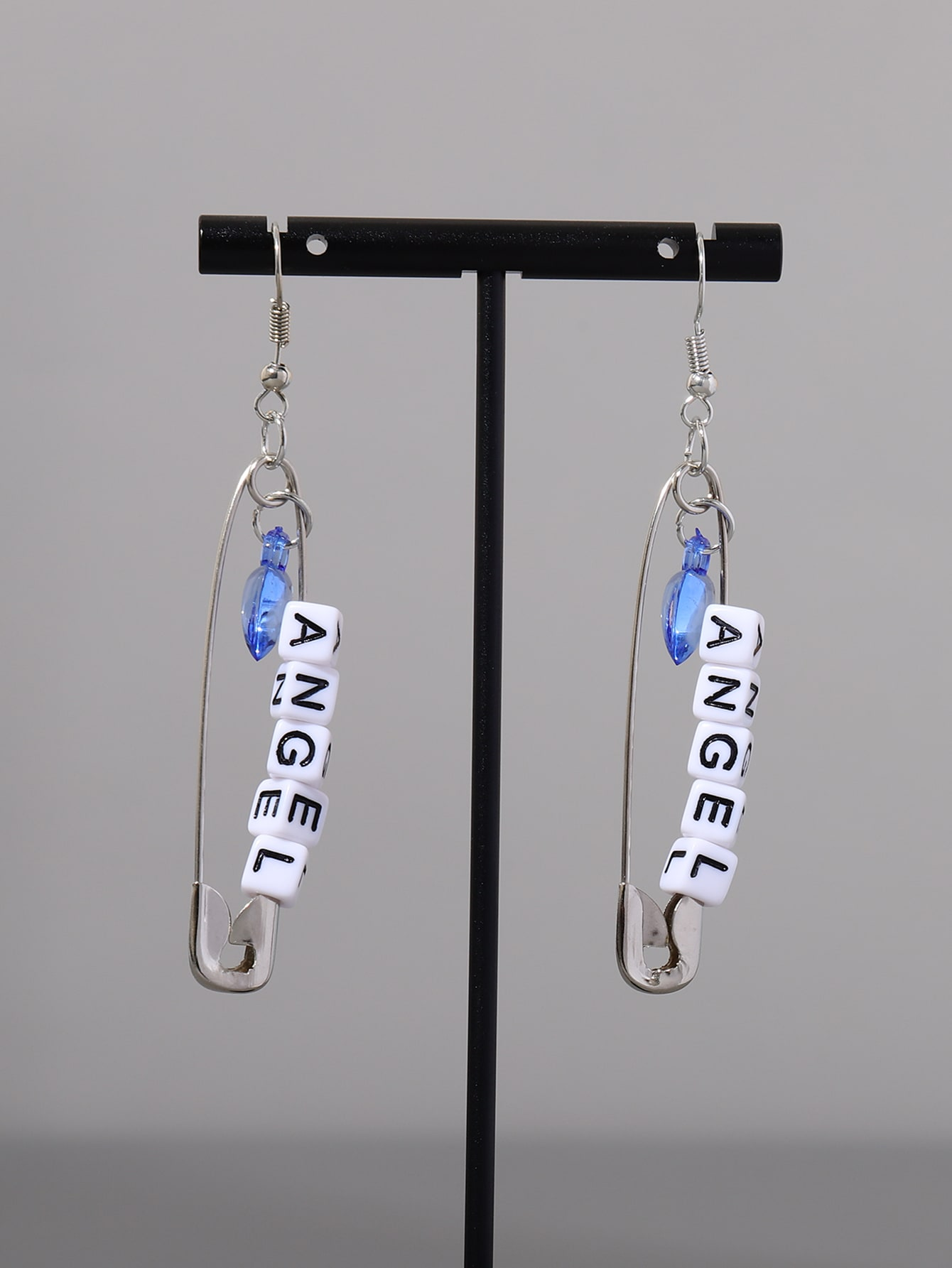 Heart Charm Safety Pin Drop Earrings thumbnail