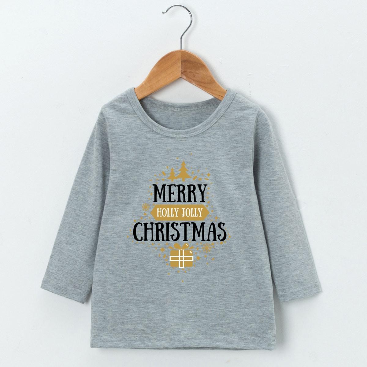 Рождество повседневный футболки для маленьких девочек