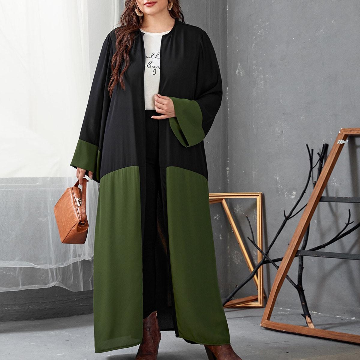 Контрастный цвет повседневный кимоно размер плюс