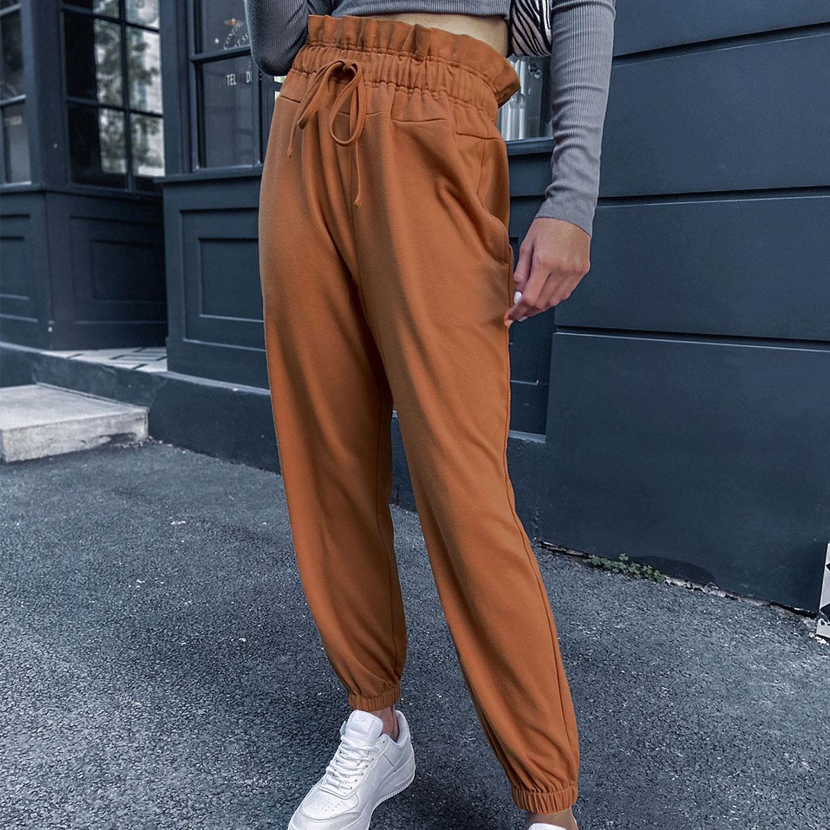 На кулиске одноцветный повседневный брюки