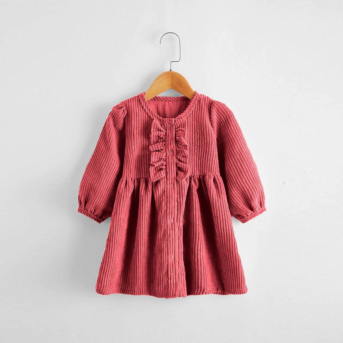 Вельветовое платье с оборками для девочек
