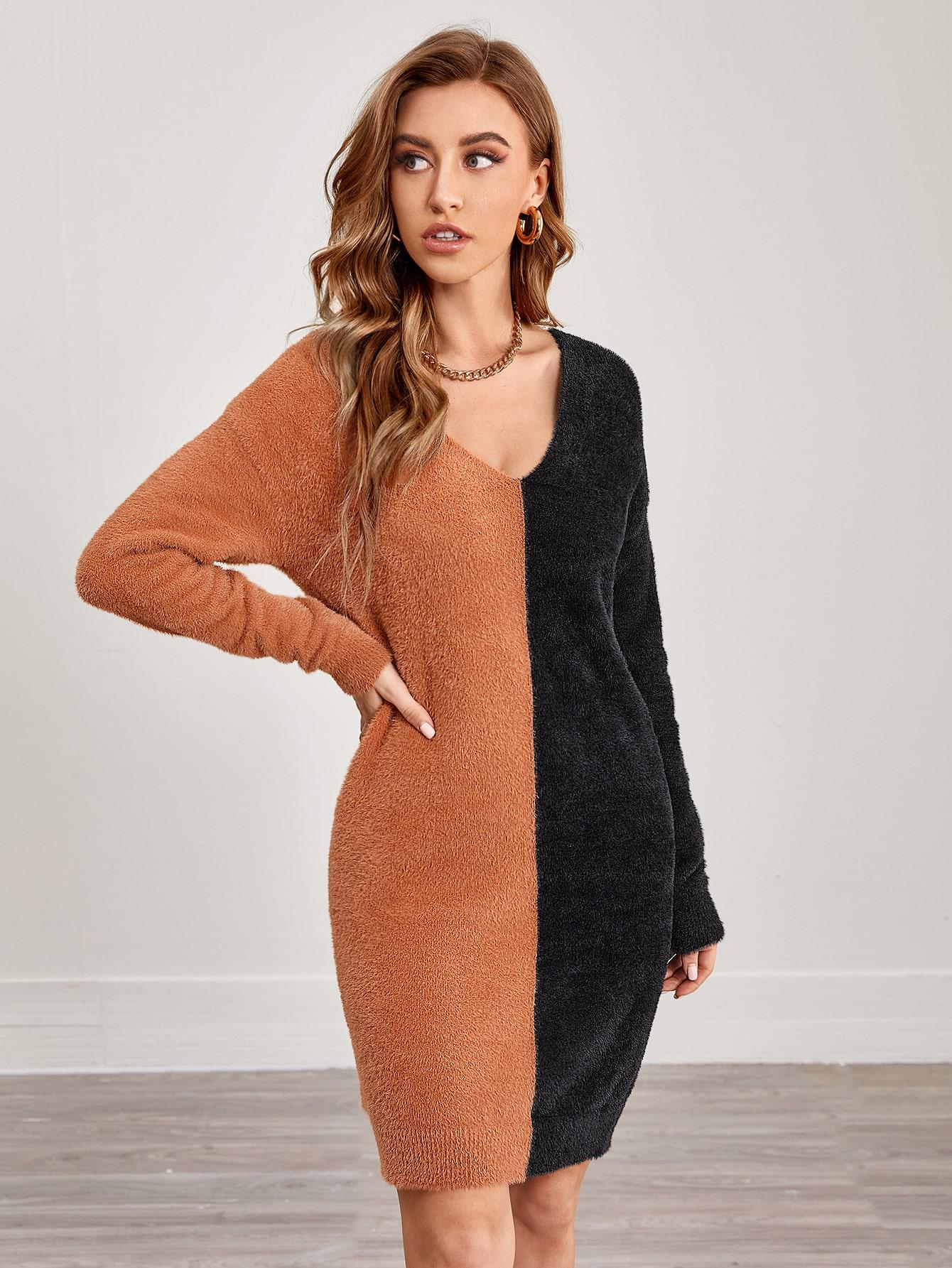 V-neck Drop Shoulder Two Tone Fluffy Knit Sweater Dress thumbnail