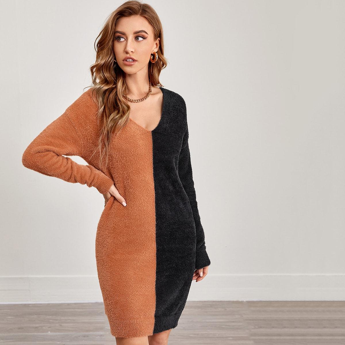 Контрастный цвет повседневный платья-свитеры
