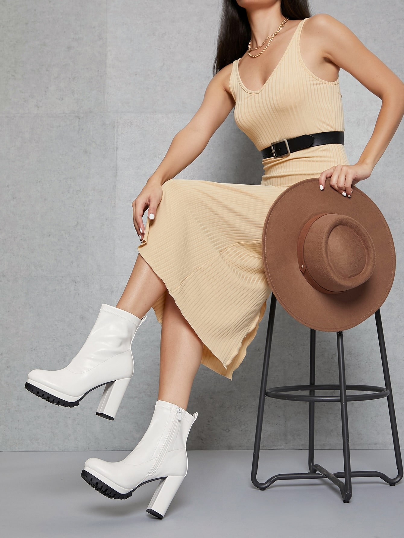 Faux Leather High Block Heel Zip-Up Booties thumbnail