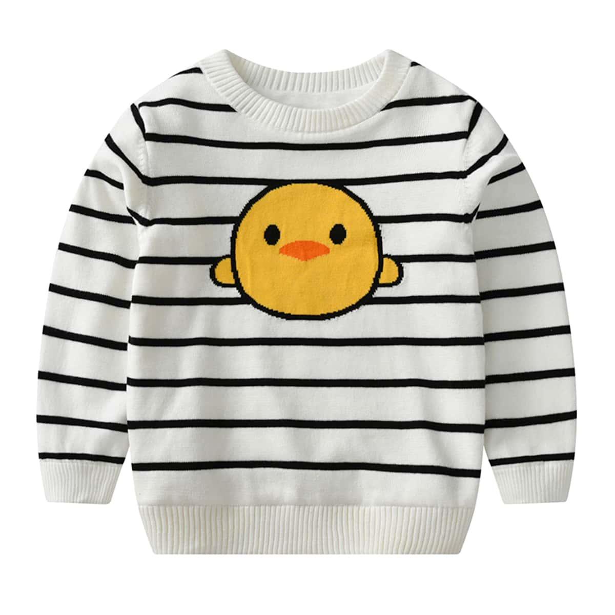 Трикотажный с карикатурой повседневный свитера для девочек