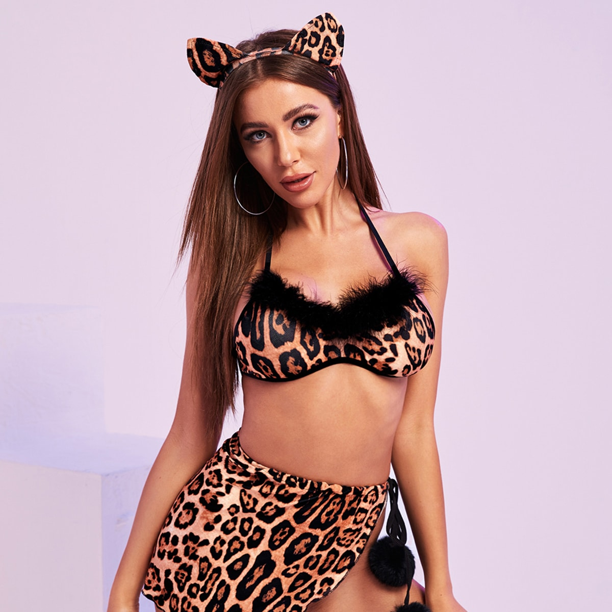 Контрастный искусственный мех Леопард Сексуальные Костюмы