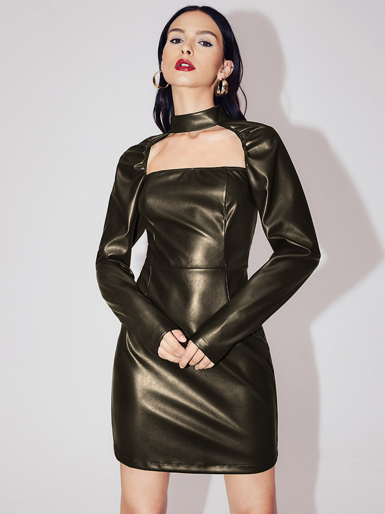Keyhole Neck PU Leather Dress thumbnail
