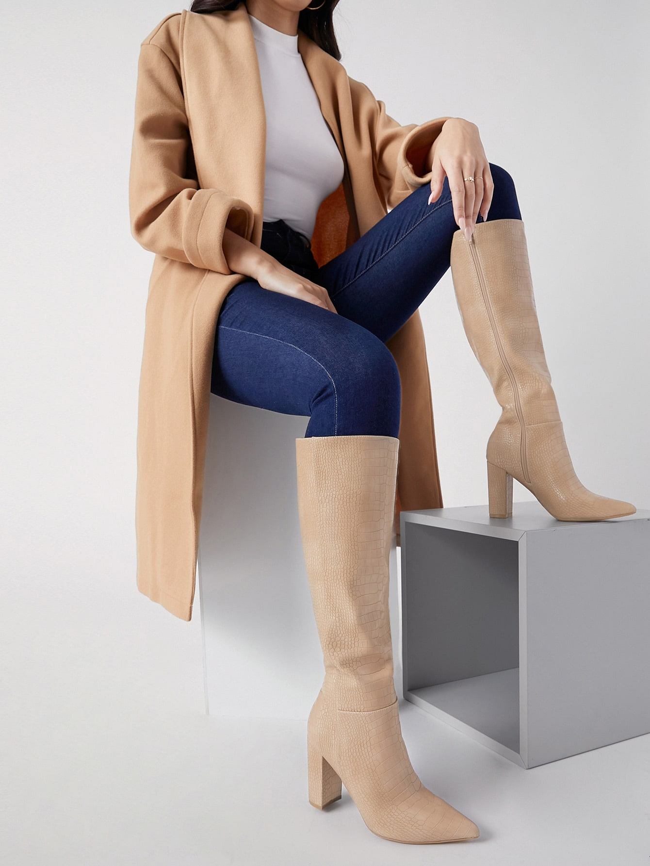 Faux Croc Leather Thigh High Heeled Boots thumbnail