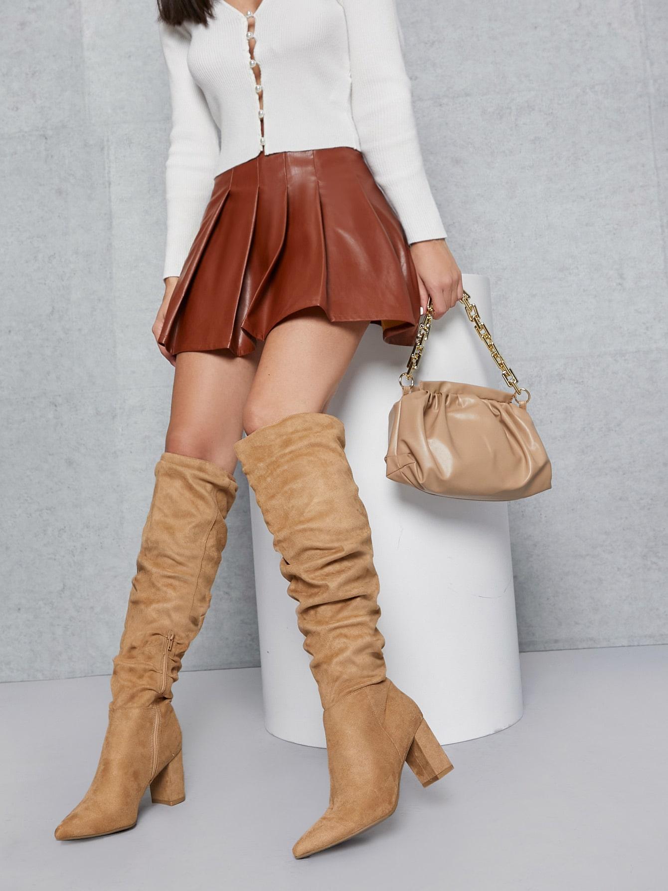 Faux Suede Over The Knee Block Heel Boots