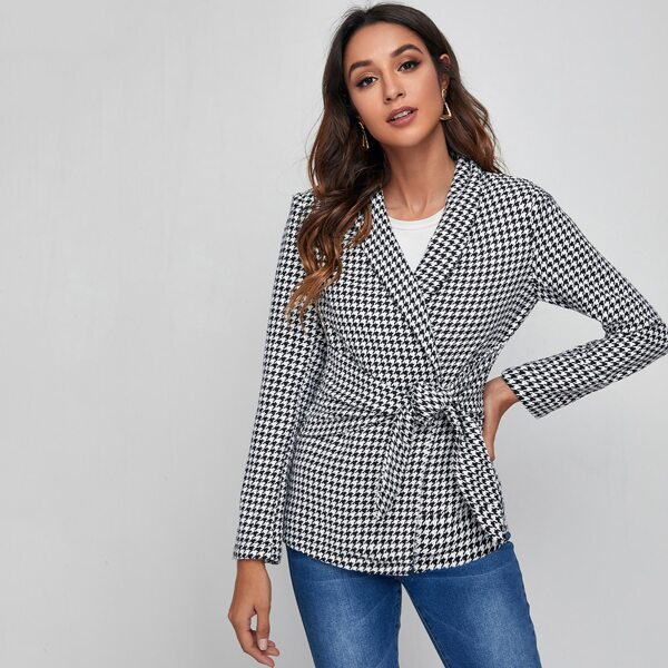 Shawl Collar Self Belted Houndstooth Blazer, Black and white