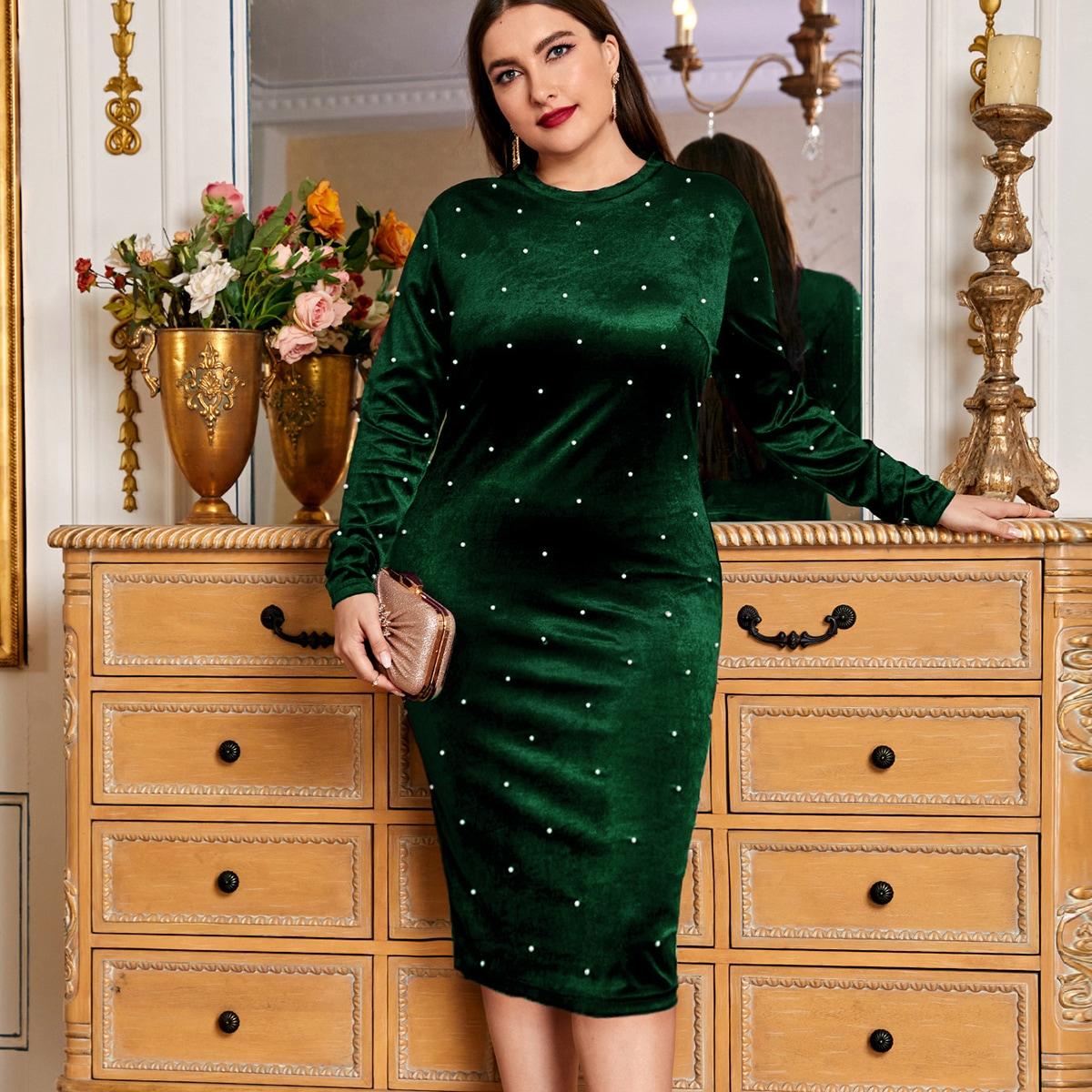 Нитка жемчуга Одноцветный Очаровательный Платья размер плюс