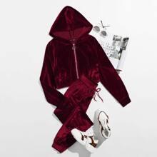 O-ring Zip Up Velvet Hoodie & Sweatpants Set