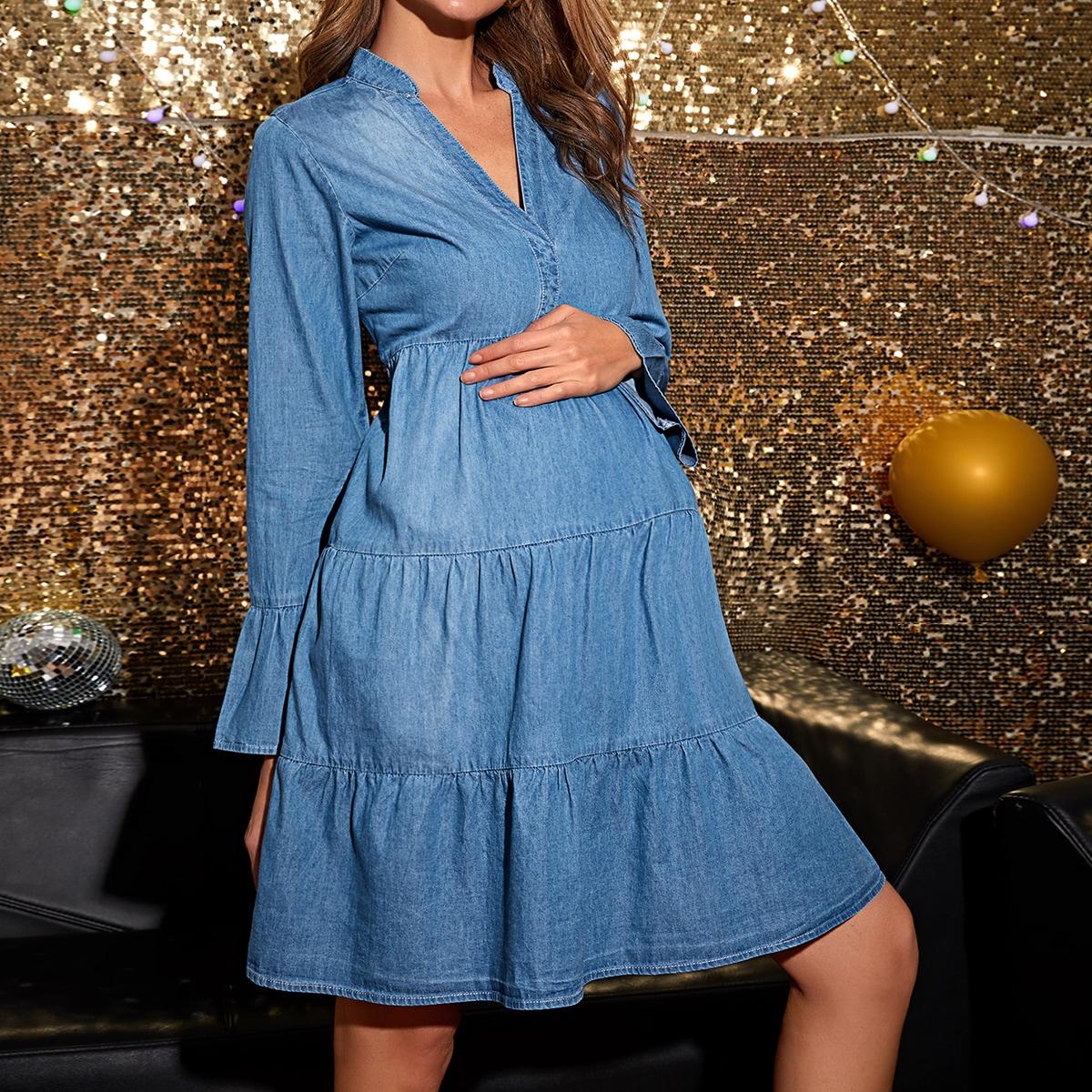 С оборками ровный цвет повседневный джинсовая одежда для беременных