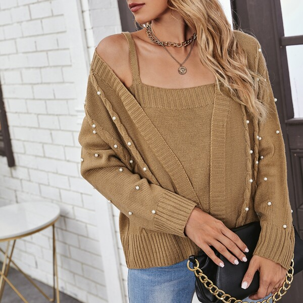 Pearls Beaded Cable Knit Cardigan With Camisole, Camel