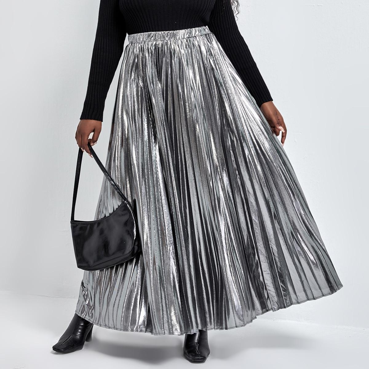 Plus Elastic Waist Metallic Pleated Skirt