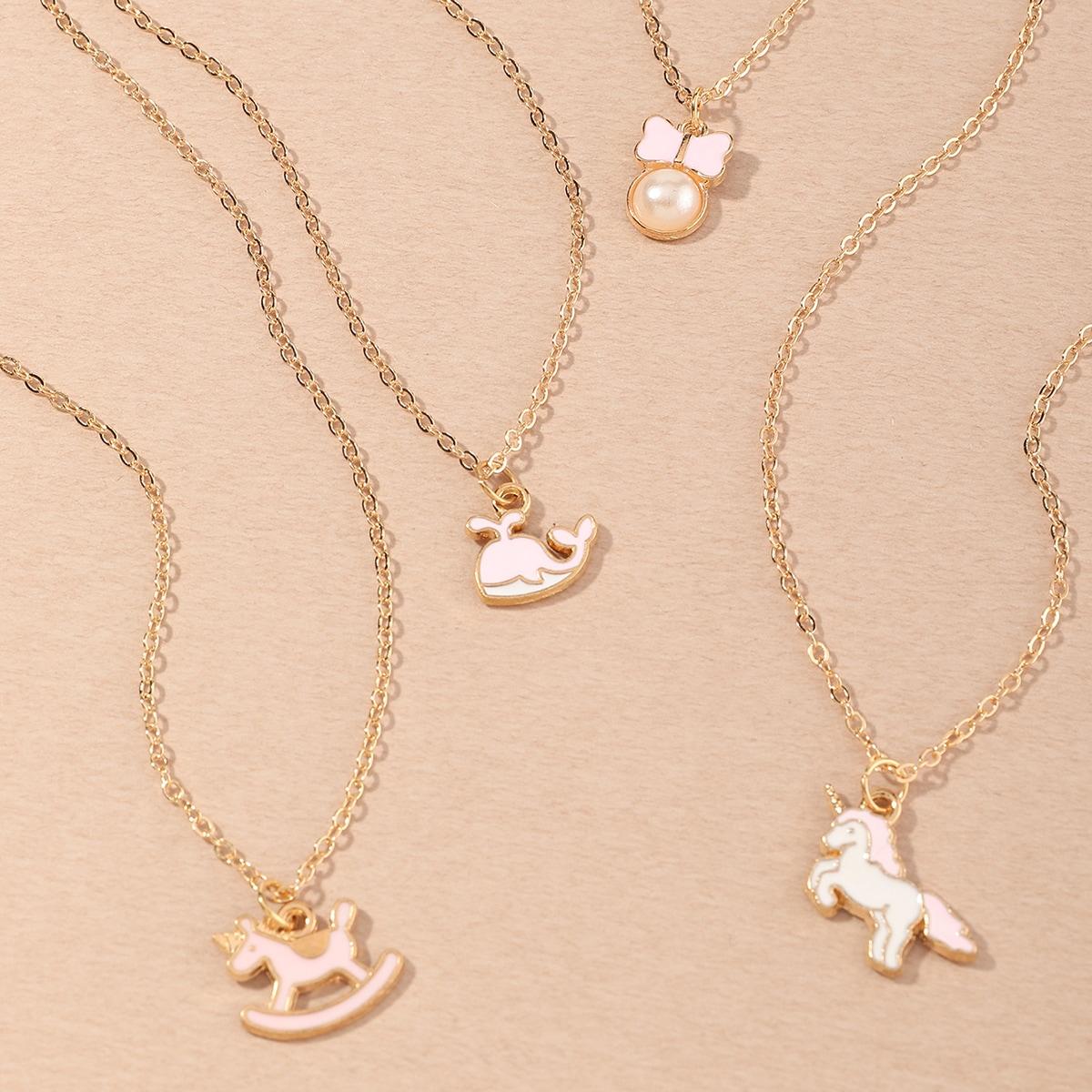 4 pezzi collana con ciondolo unicorno da ragazza