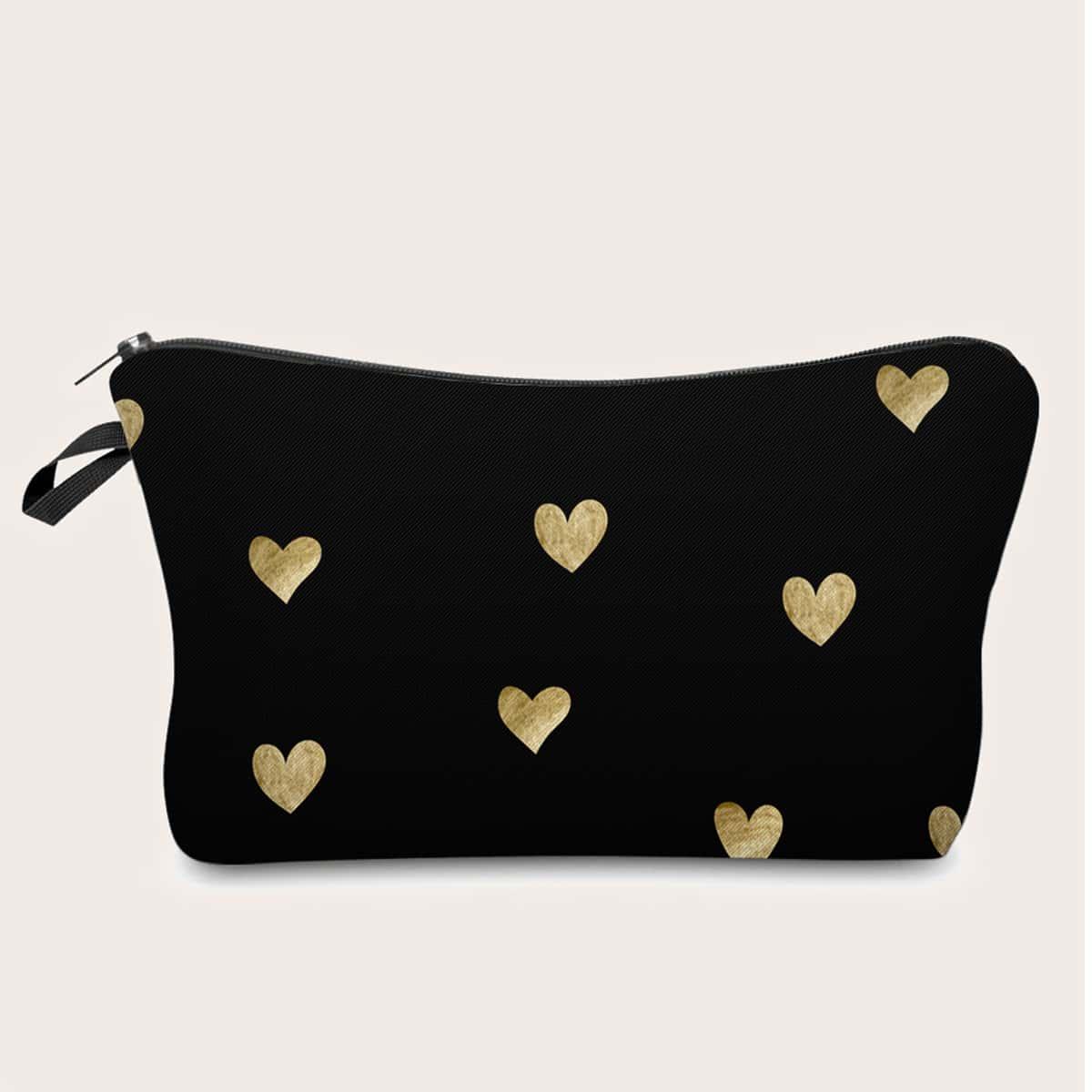 Косметическая сумка с принтом сердечка