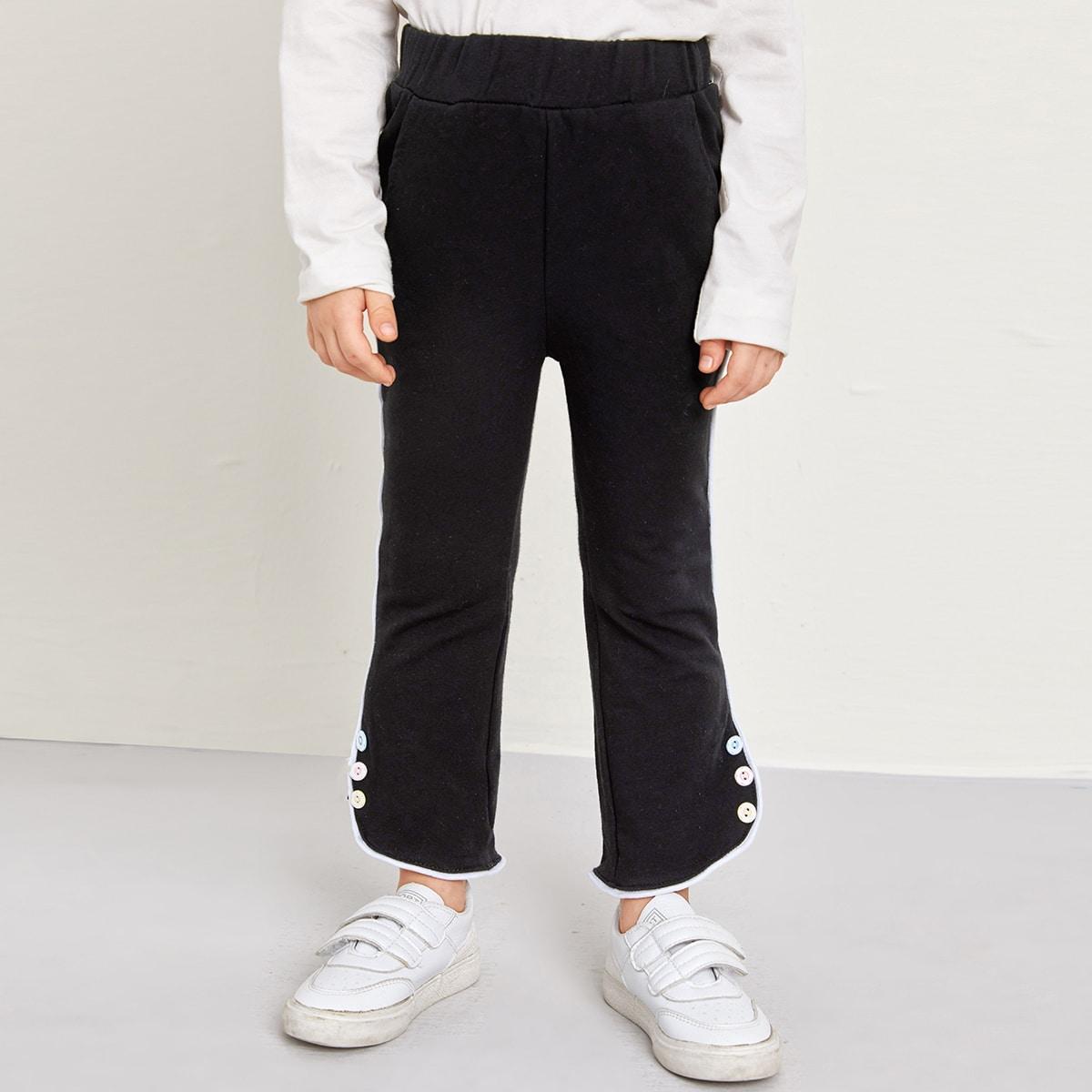 Контрастная отделка повседневный брюки для маленьких девочек