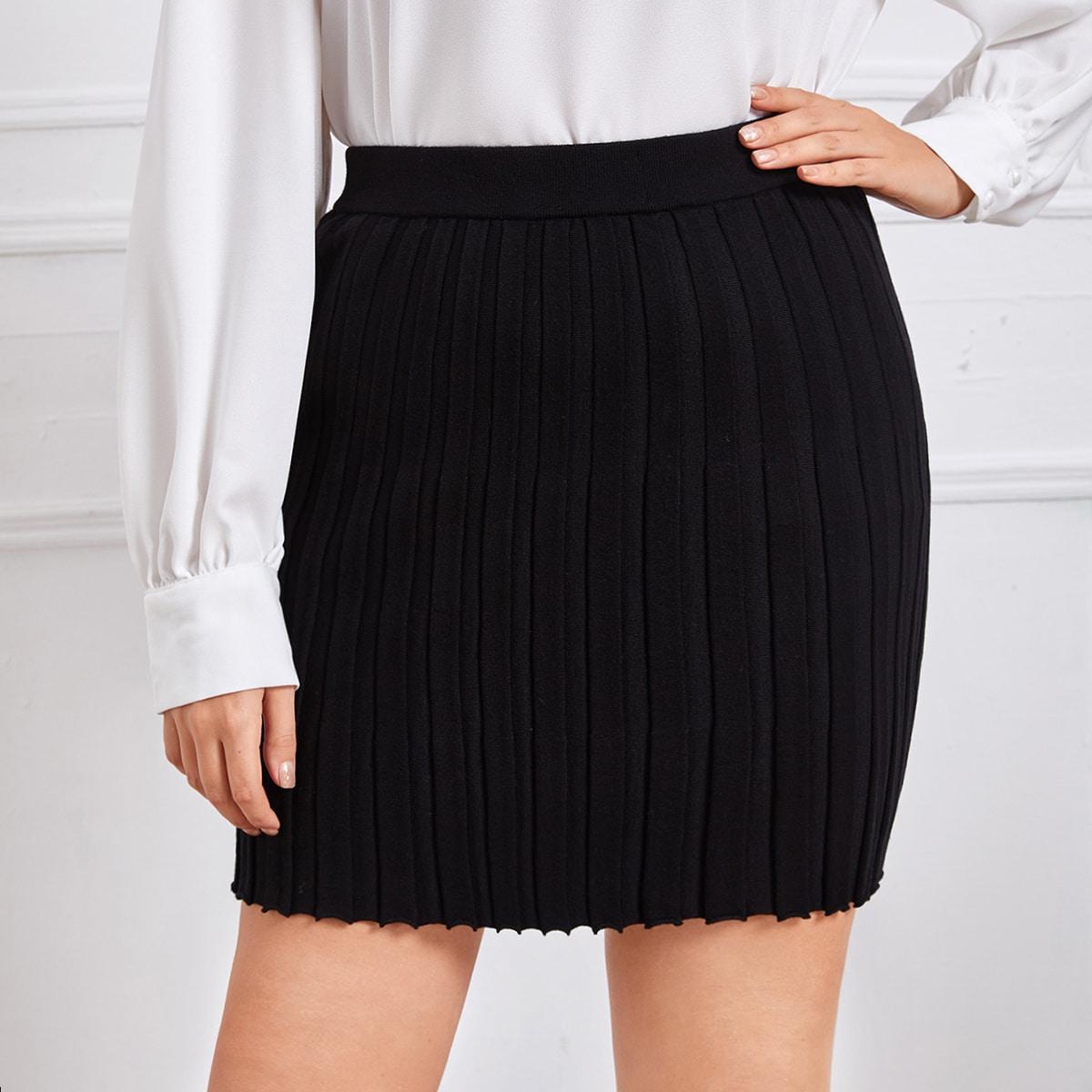 Трикотажный одноцветный элегантный трикотажные юбки размер плюс