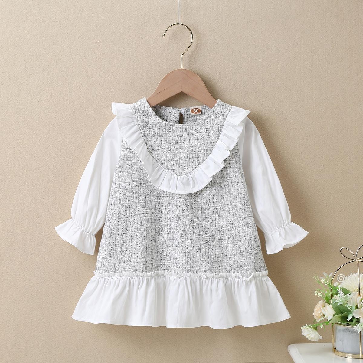 С оборками контрастный цвет милый платья для малышей