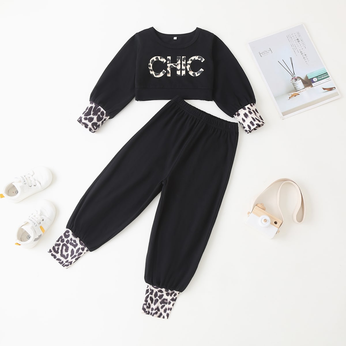 Toddler Girls Leopard Letter Graphic Crop Top With Joggers