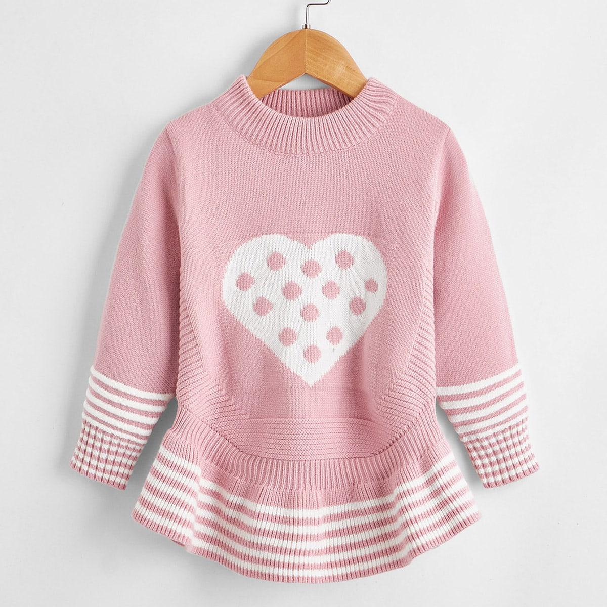 С оборками полосатый повседневный свитеры для девочек