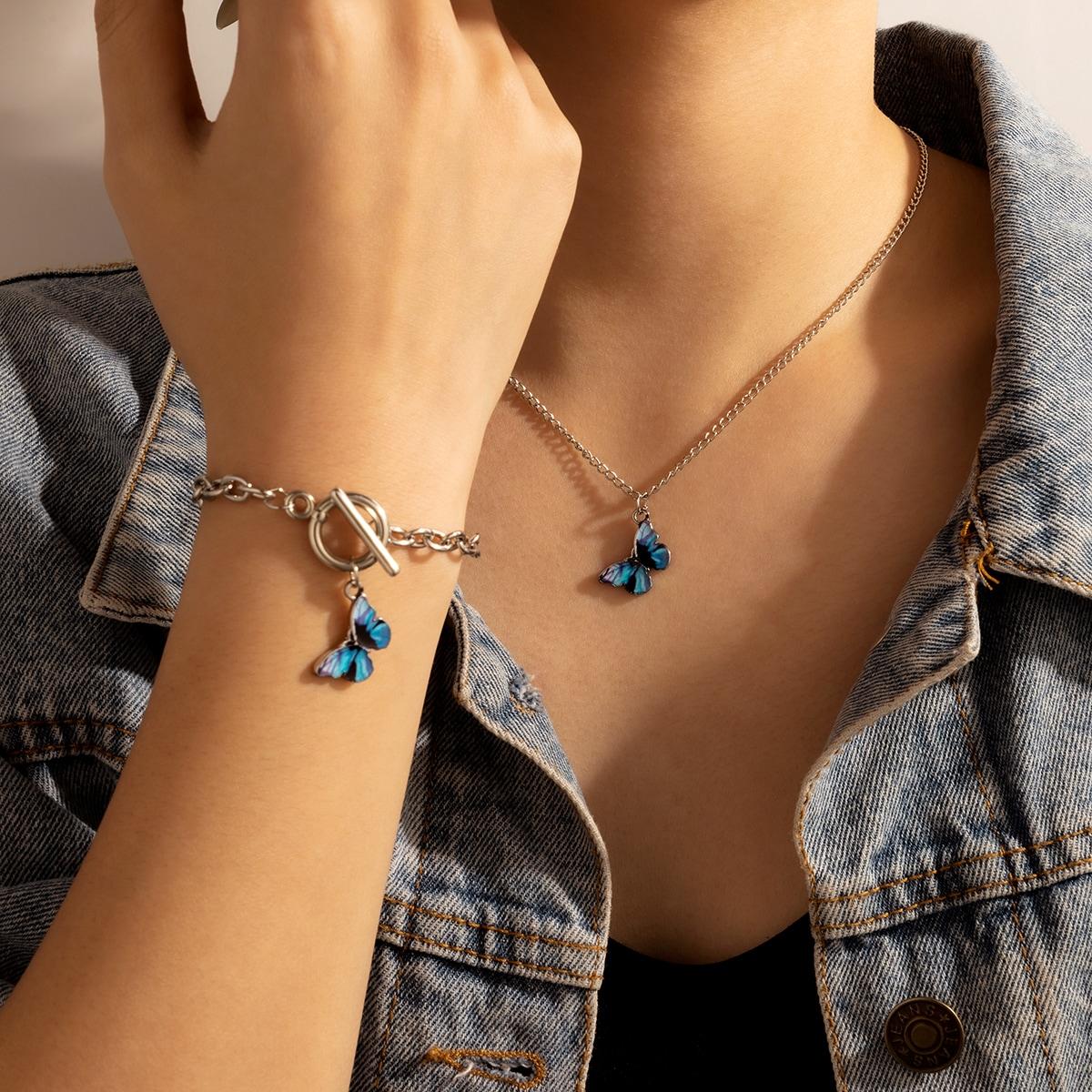 1 Stück Halskette mit Schmetterling Anhänger & 1 Stück Armband