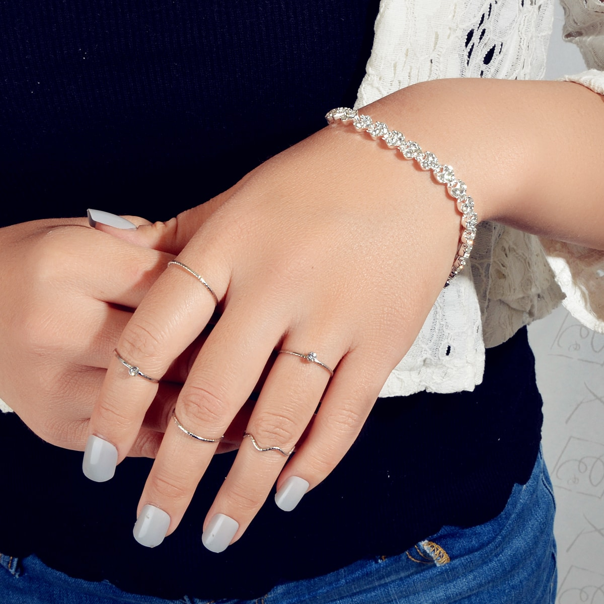 1 Stück Armband mit Strass & 5 Stücke Ring