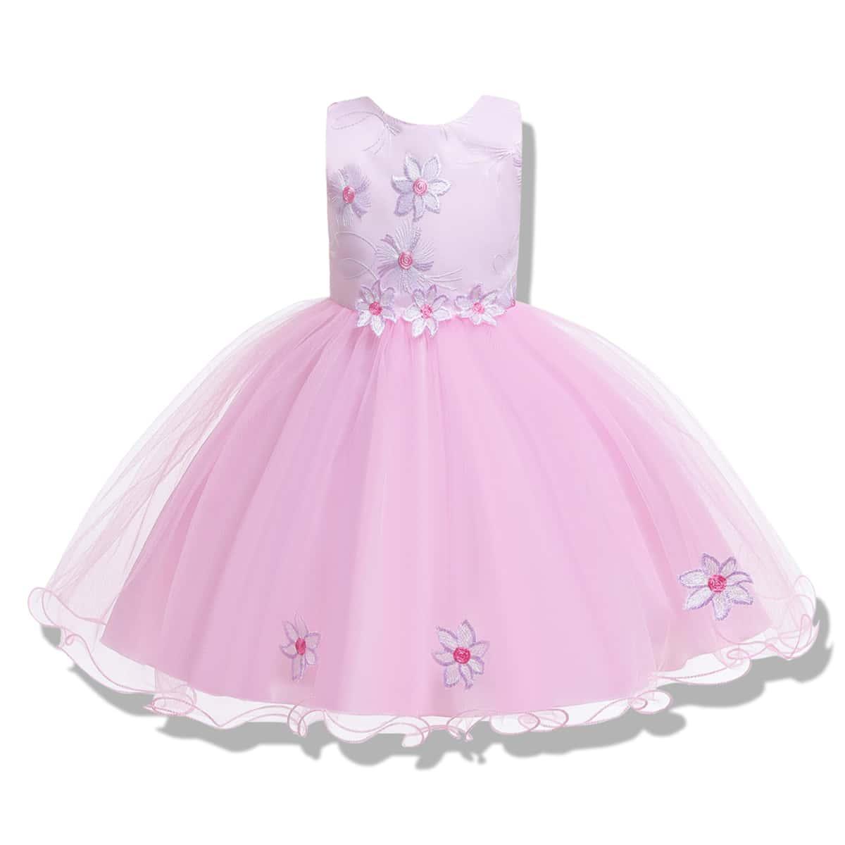 С аппликацией цветочный принт очаровательный нарядное платье для маленьких девочек