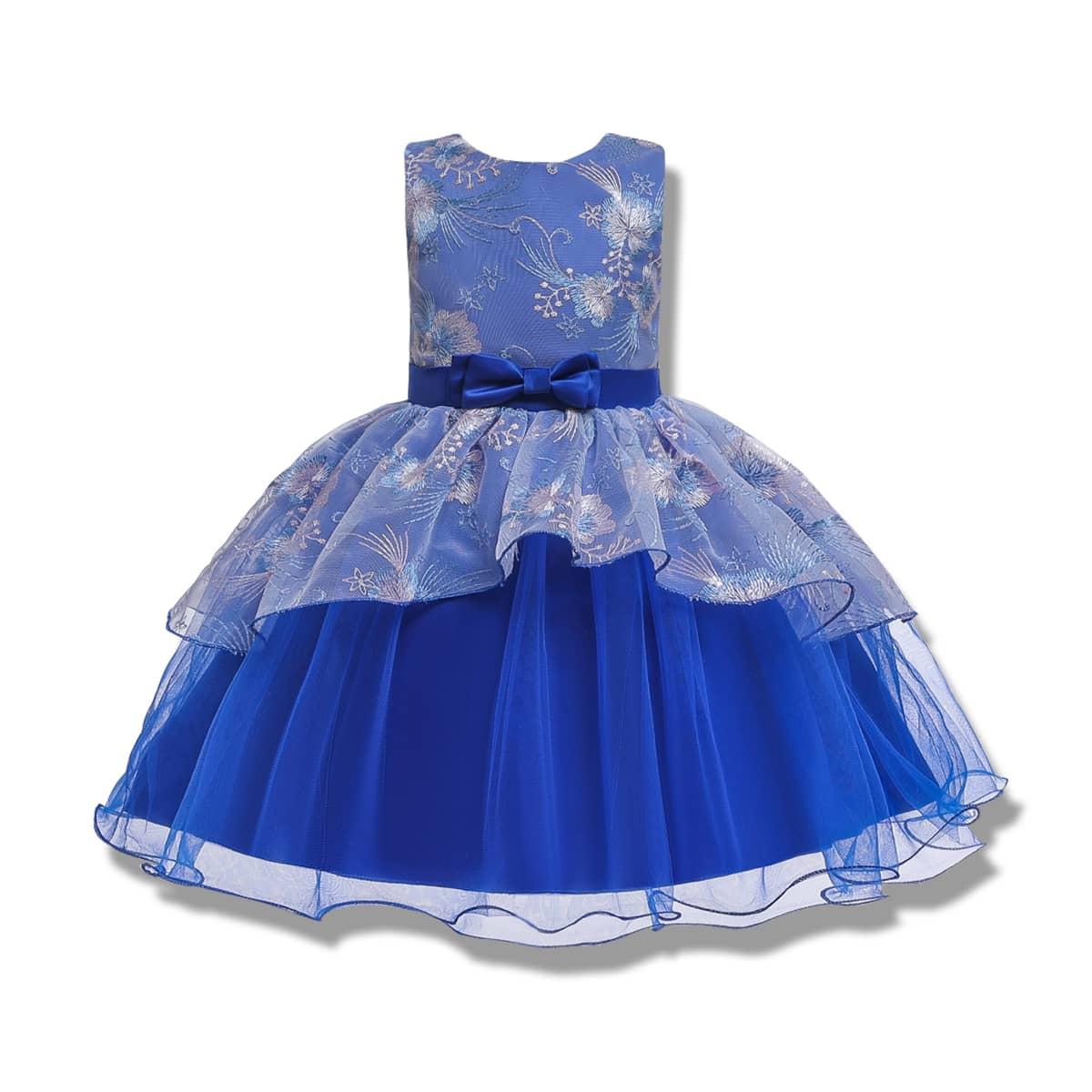 С вышивкой цветочный принт очаровательный нарядное платье для маленьких девочек