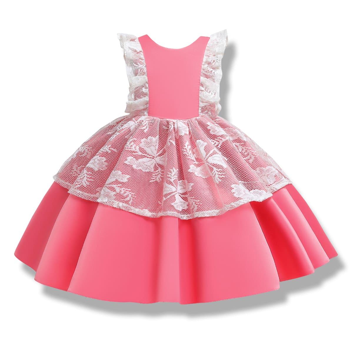С бантом контрастный цвет очаровательный нарядное платье для маленьких девочек