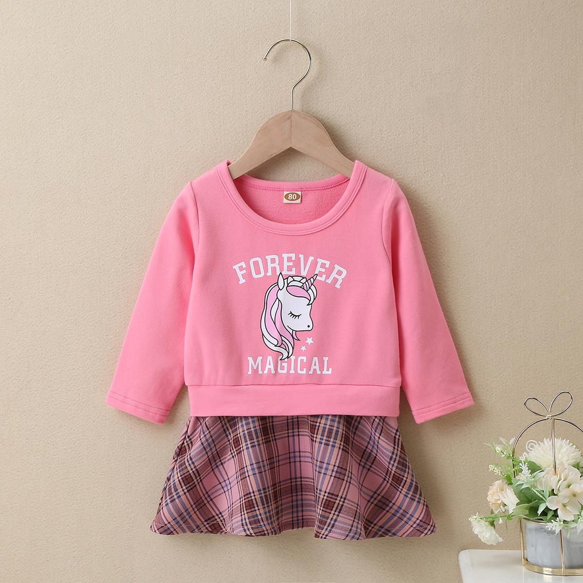 С оборками мультяшный принт повседневный платья для малышей