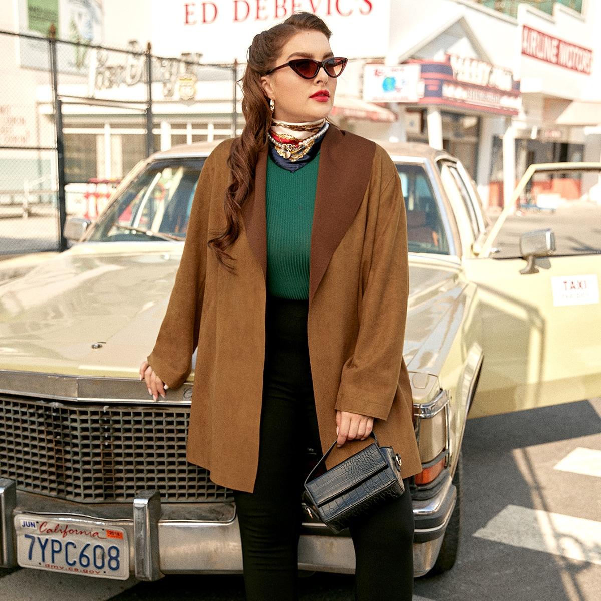 Одноцветный Повседневный Плюс размеры пальто