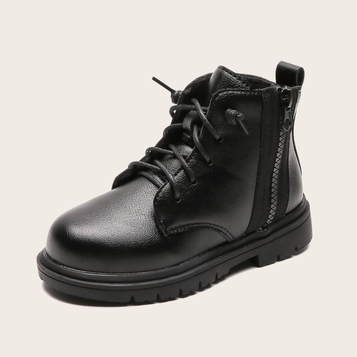 Ботинки на шнурках с молнией для мальчиков