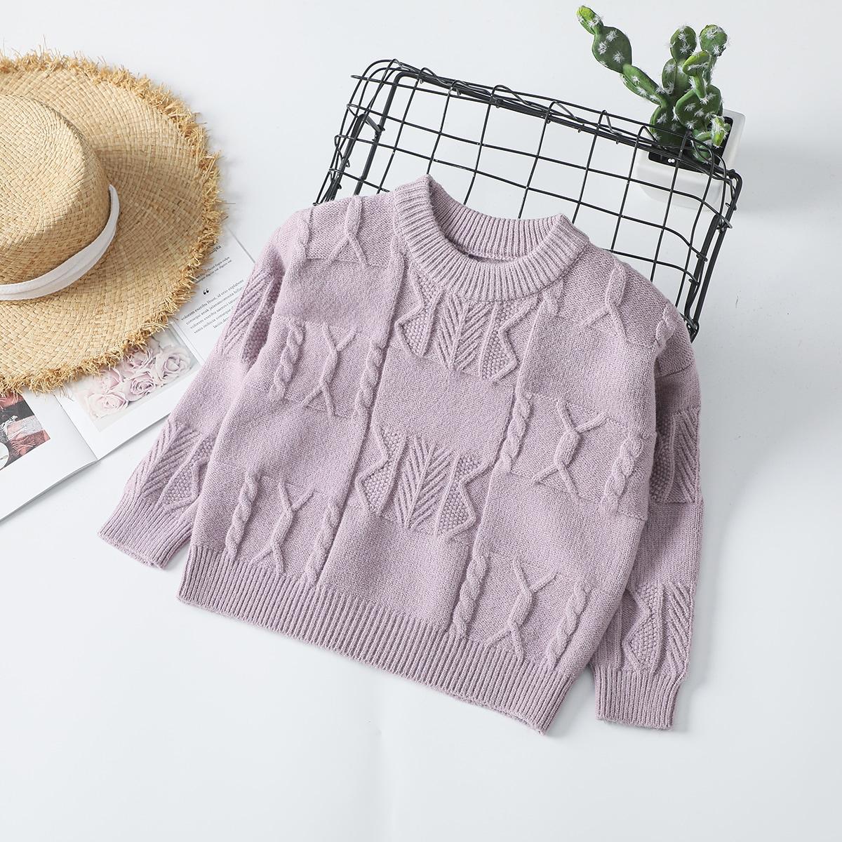 Одноцветный повседневный свитера для девочек