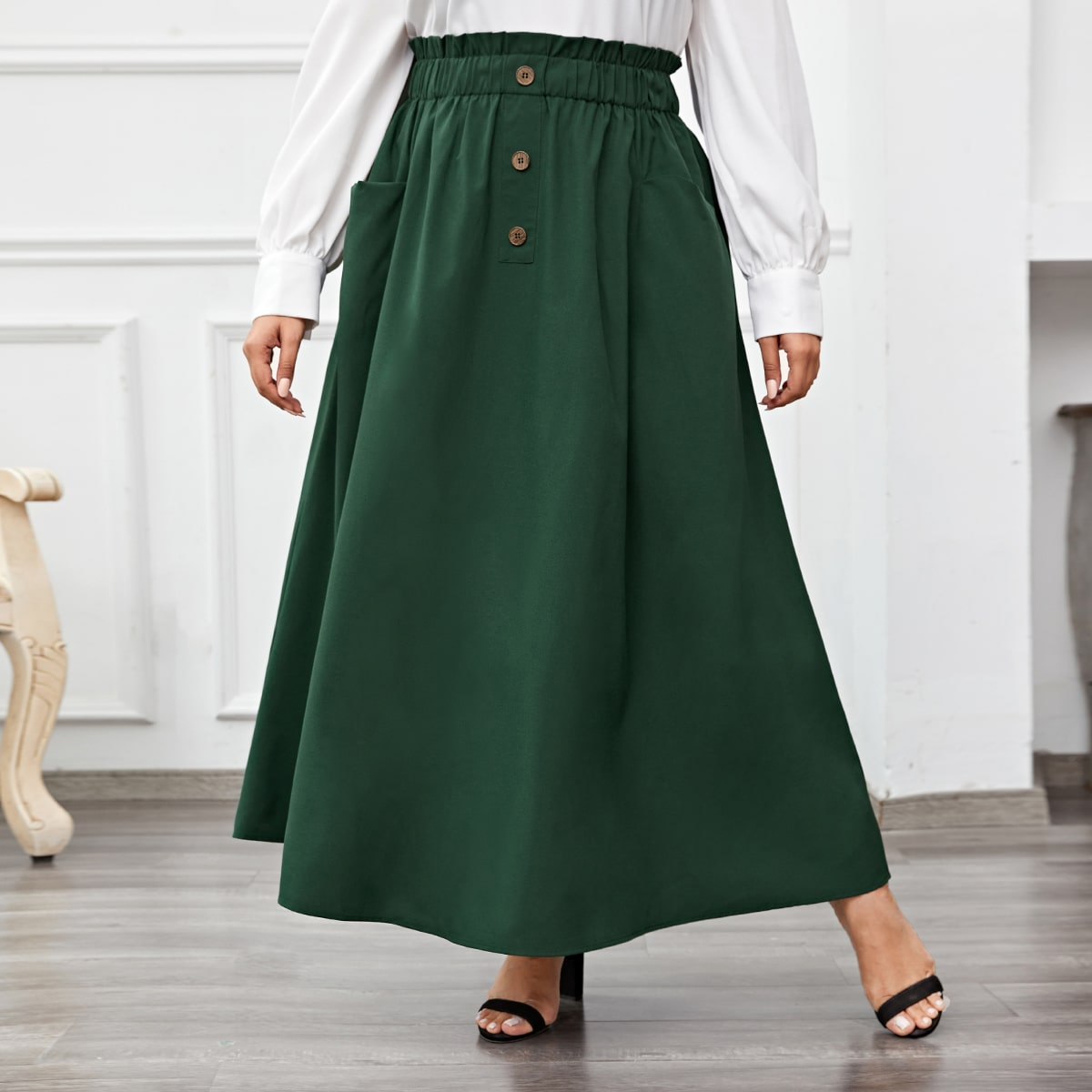 Plus Paper Bag Waist Flared Skirt