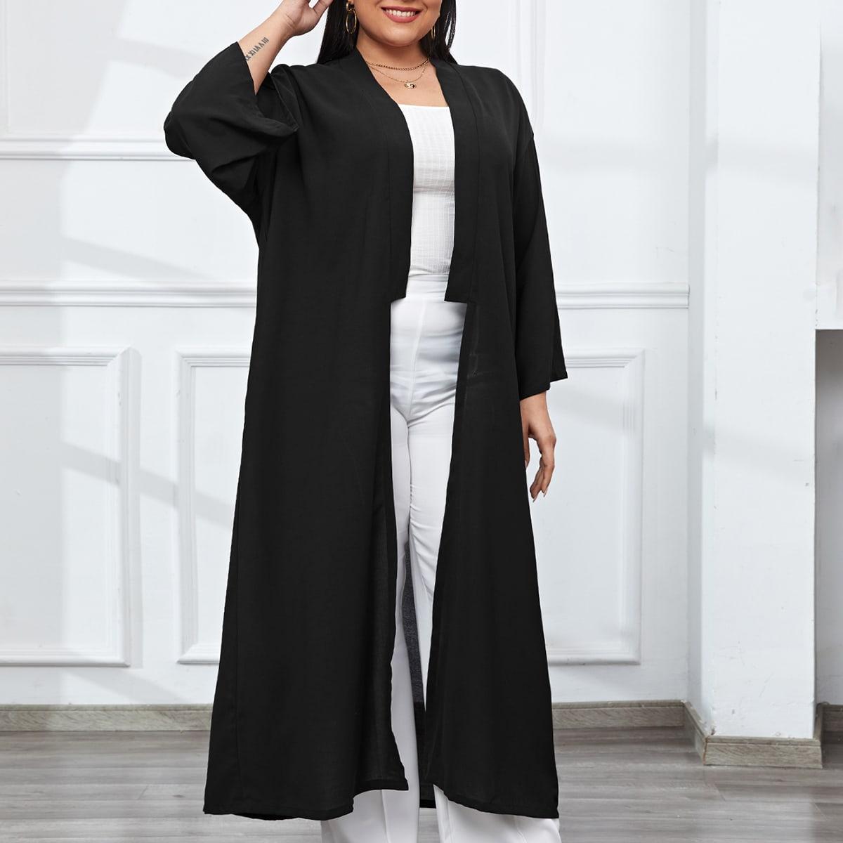 Одноцветный повседневный кимоно размер плюс