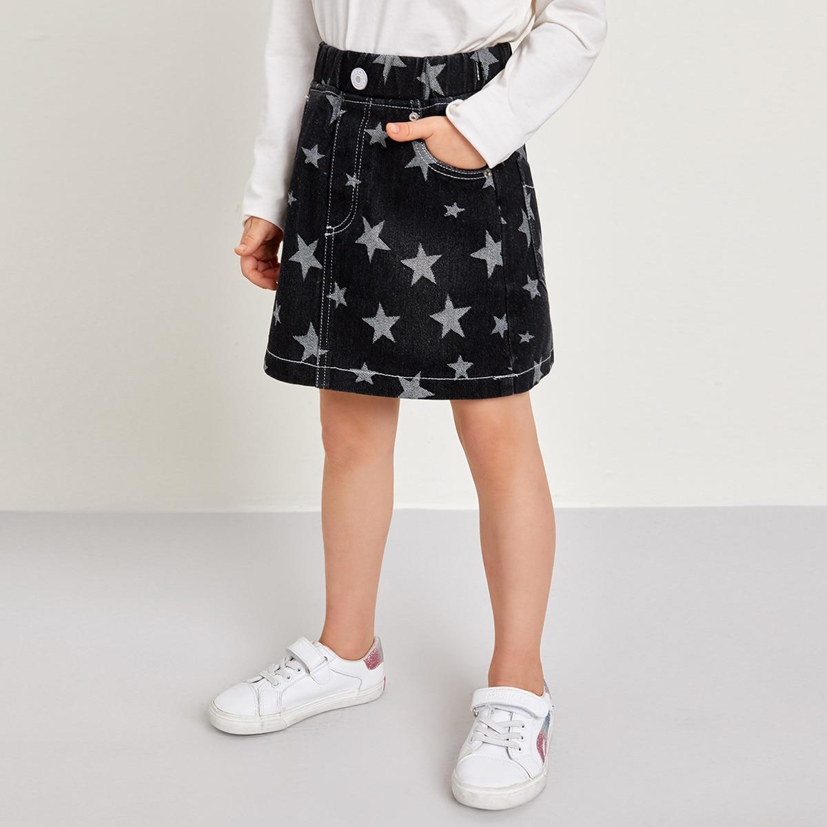 На пуговицах геометрический повседневный джинсовые юбки для девочек