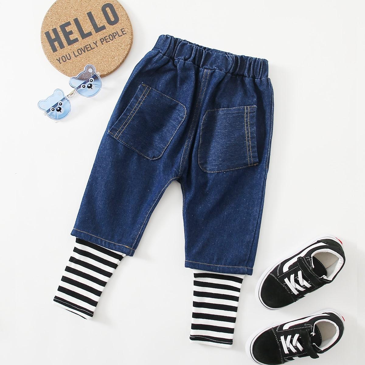 Карман полосатый повседневный джинсы для мальчиков