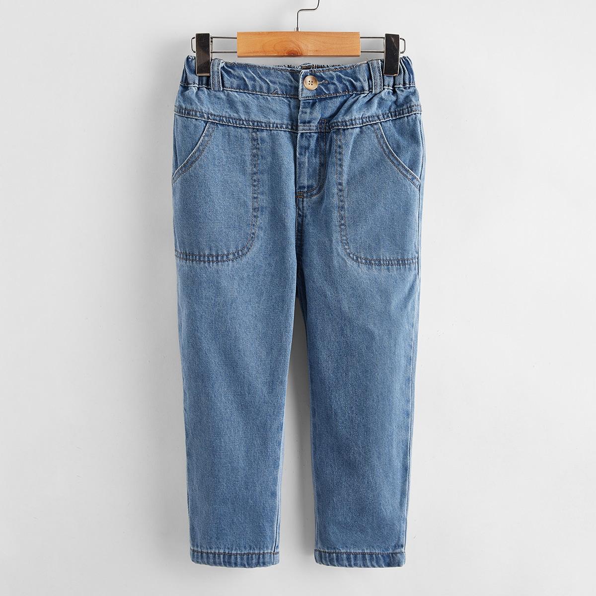 Пугавица одноцветный джинсы для мальчиков