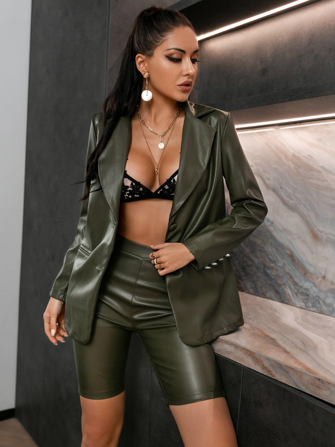 Single Breasted PU Leather Blazer & Biker Shorts Set thumbnail